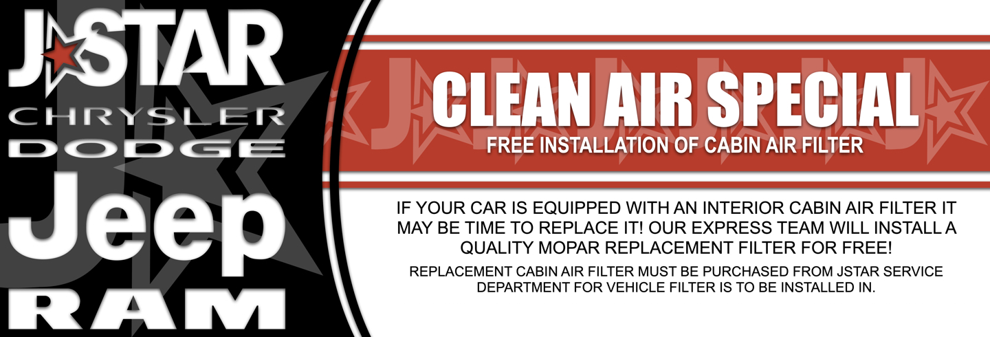 FREE INSTALLATION OF CABIN AIR FILTER